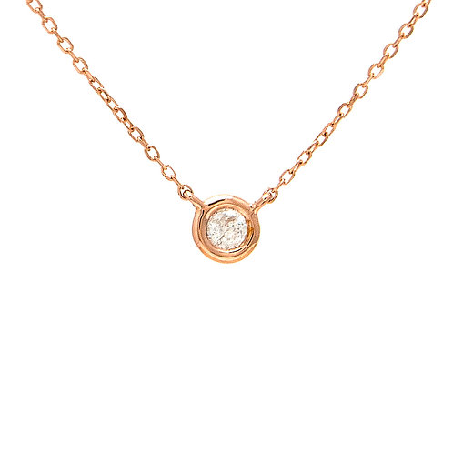 Round bezel set diamond pendant necklace. Petite bezel set necklace. Pendant with bezel set diamond on chain. Bezel set stone