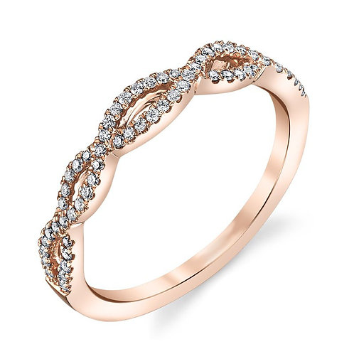 14K rose gold diamond woven stackable ring. Diamond stacking ring. Rose gold stack ring. Rose gold twisted ring. Twisted rose