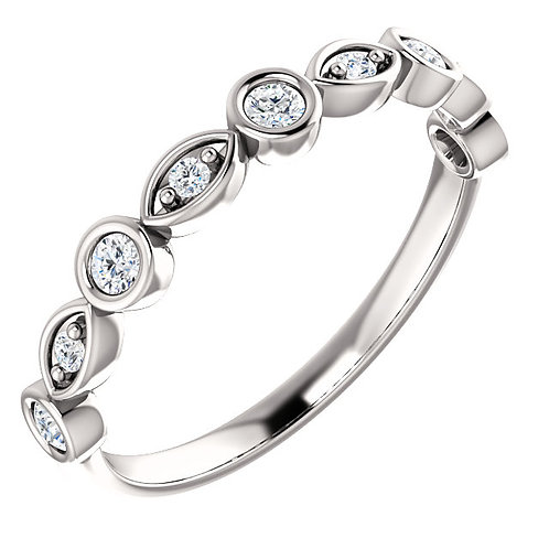 14K white gold diamond anniversary ring with mixed settings. Round prong and bezel set ring. Mixed settings. Anniversary ring