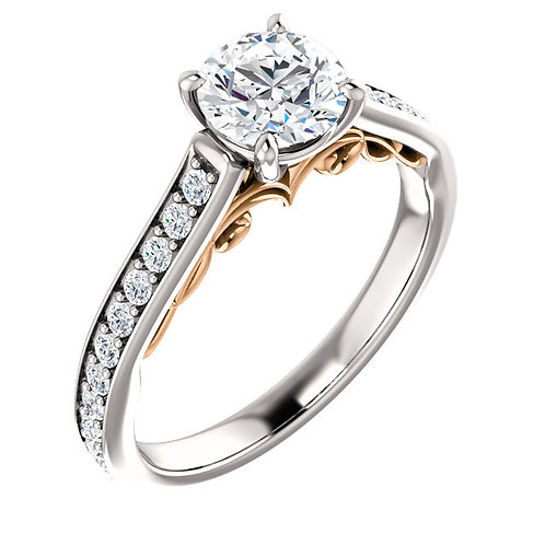 14K white gold diamond engagement ring with rose gold filigree accented gallery. Channel set diamond accented engagement ring