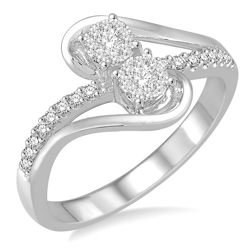 "14K white gold diamond ring with two stones. Two stone diamond ring. ""WOW!"" Diamond two-stone ring. White gold two-stone ring"