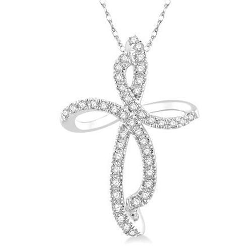Freeform cross pendant. Diamond cross pendant. White gold cross necklace. Diamond cross necklace.