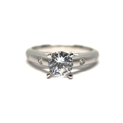 14K white gold diamond engagement ring with satin finish and flush set diamonds. Diamond ring. White gold diamond ring. Flush