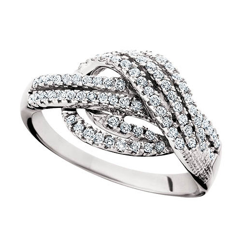 14K White Gold and .52cttw Diamond Knot Ring