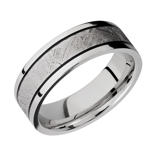 Cobalt Chrome Mens Band With Gibeon Meteorite Inlay And Black Antiqued Stripes Ring