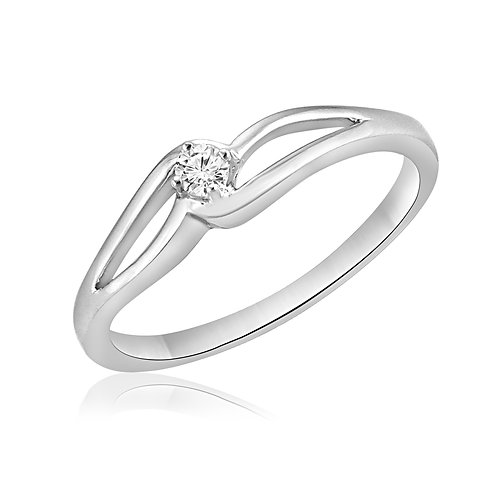 10K white gold split band style diamond promise ring. White gold diamond promise ring with split band. Diamond ring. White.