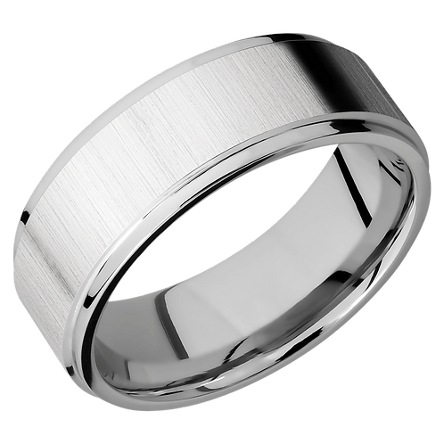 Flat cobalt chrome wedding band with cross satin finish and polished grooved edges. Cross satin men's wedding ring. Mens band