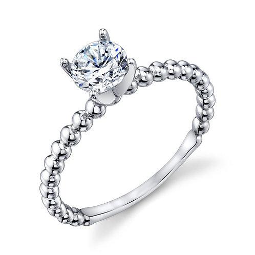 14K white gold beaded diamond solitaire engagement ring. Stackable solitaire engagement ring. Beaded engagement ring. Diamond
