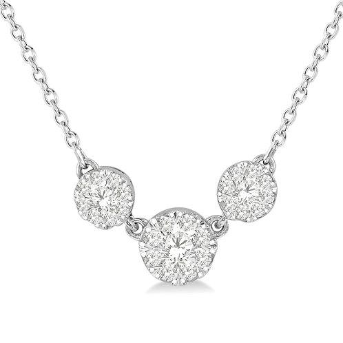 14K white gold diamond pendant with three stones on white gold chain. White gold diamond necklace. Diamond three stone set