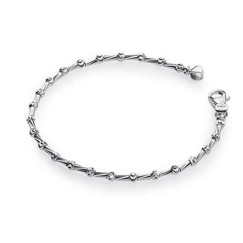 Platinum plated sterling silver faceted metal bracelet. Italian. Made in Italy. Shimmering bracelet. Platinum bracelet.