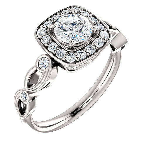 14K white gold diamond engagement ring with diamond accents, vintage inspired millgrain finish, and diamond halo. Diamonds.