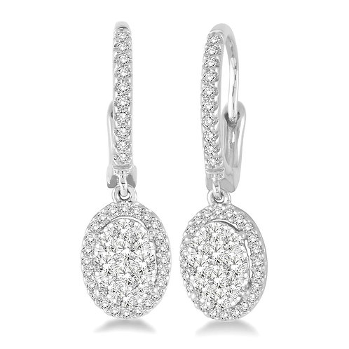 "14K white gold ""WOW!"" Diamond oval dangle drop earrings. Oval drop diamond earrings. Cluster dangle earrings. White gold."