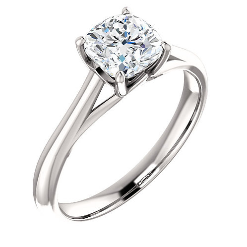 14K white gold cathedral style engagement ring. Solitaire engagement ring. White gold diamond solitaire. Solitaire diamond.