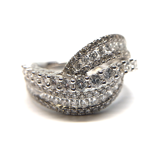 14K white gold diamond twisted anniversary band or cocktail ring. Right hand ring. Diamond ring. White gold ring. Ladies ring