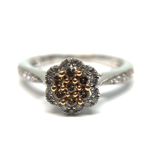 10K white gold ring with champagne diamonds and white diamond halo. Yellow diamonds. Brown diamonds. Chocolate diamond. Halo.
