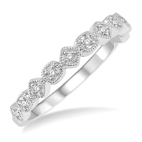 14K white gold diamond vintage inspired millgrain accented stackable ring. White gold stacking ring. Stack band. White gold.
