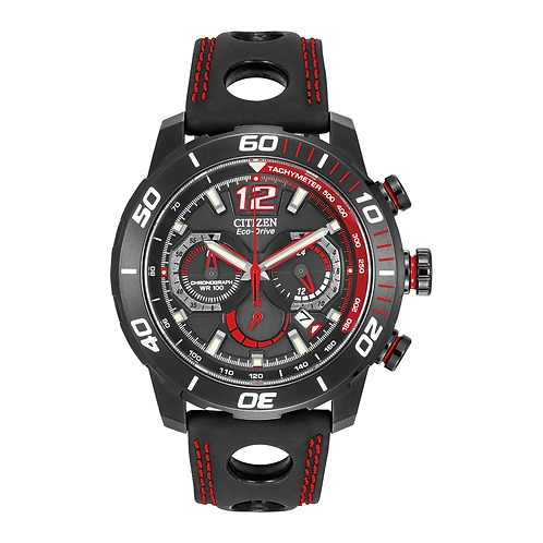 Black Citizen Ecodrive watch with red accents. Eco-drive watch. Eco drive solar Citizen watch. Sport watch. Citizen sports.