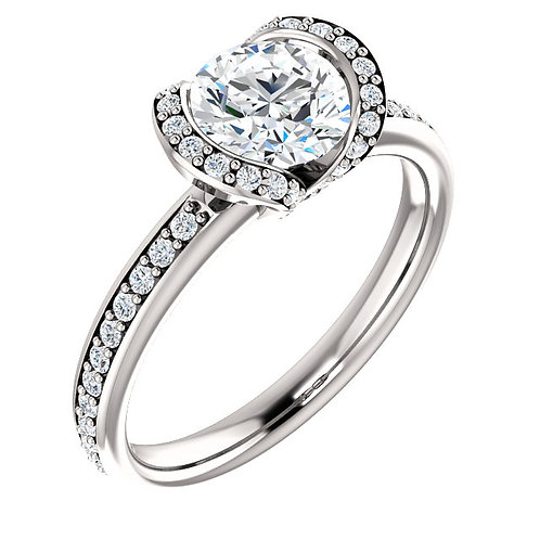 14K white gold diamond engagement ring with diamond tension set halo and diamond accented band. Diamond accented engagement.