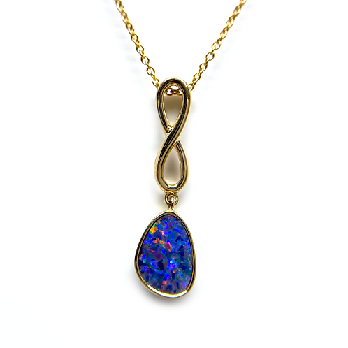 14K yellow gold infinity inspired pendant with opal doublet. Australian opal doublet infinity pendant necklace. Blue opal.