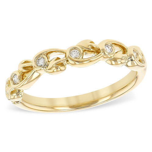 14K yellow gold diamomd anniversary band or stackable ring. Stackable band. Vine inspired ring. Bezel set diamond band. Bezel
