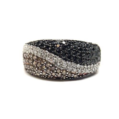 14K white gold black, white and champagne diamond ring. Micro pave black diamond ring. Designer colored diamond ring. Waves.
