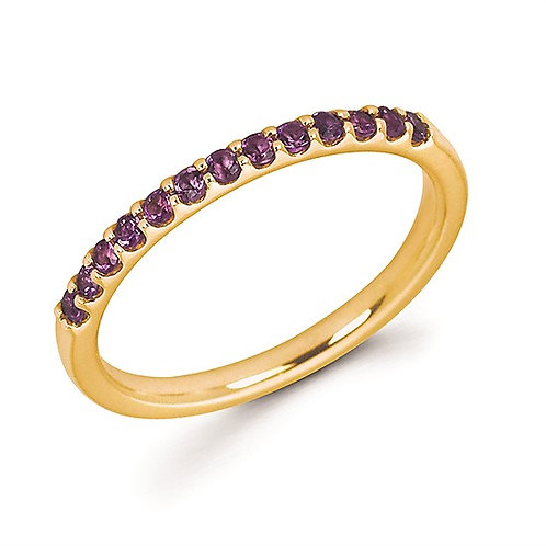 14K yellow gold band with prong set round amethyst stones. February birthstone ring. Mother's ring. Colored gemstone ring.