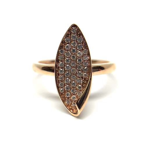 14K rose gold and diamond cocktail ring. Flame shaped micro pave diamond ring. Marquise shaped rose gold ring. Diamond ring.