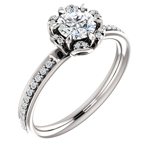 14K white gold nature inspired halo engagement ring. Floral halo engagement ring. Flower halo ring. White gold ring. Diamonds
