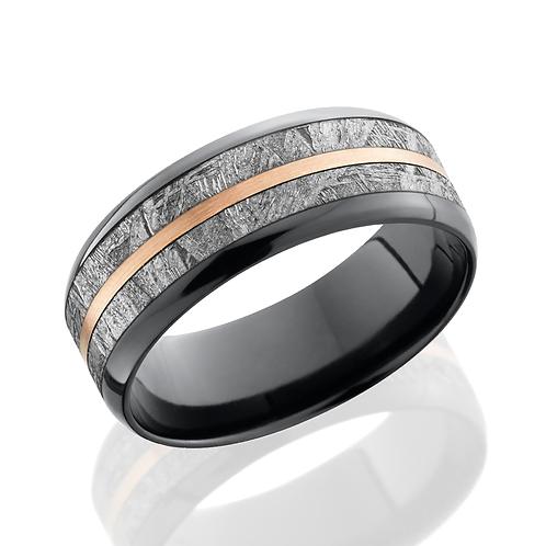 Men's black zirconium wedding band with gibeon meteorite and rose gold inlays. Meteorite ring. Rose gold ring. Men's wedding.