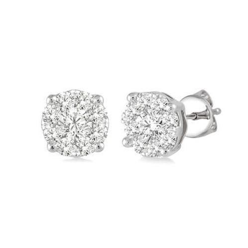 Diamond earrings. Diamond stud earrings. White gold diamond earrings. White gold diamond stud earrings.