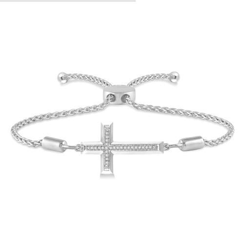 Sterling Silver And Diamond Cross Bracelet Adjule Lariat