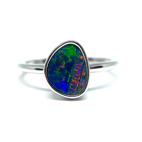 14K white gold and opal double ring. Australian opal doublet ring. Opal ring. White gold opal ring. Opal doublet bezel set.