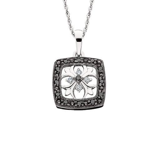 10K white gold pendant with black and white diamonds. Vintage inspired filigree design. Floral design. Floral filigree.