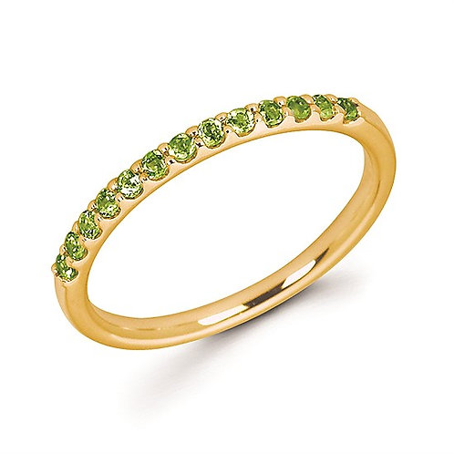 14K yellow gold peridot birthstone stackable ring. Stackable peridot ring. Yellow gold and peridot ring. Green stone ring.