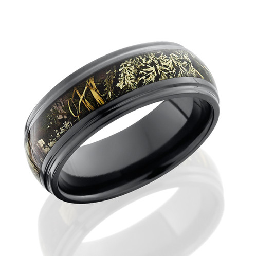 zirconium mens wedding band with realtree max camo inlay and beveled polished edges - Realtree Wedding Rings