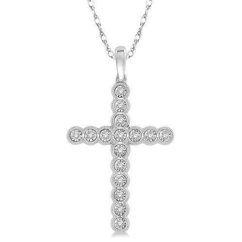 10K white gold diamond cross pendant necklace. Diamond cross. Illusion set vintage inspired millgrain accented diamond cross.