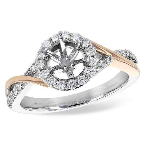 14K white and rose gold two tone twisted engagement ring with accented band and diamond halo. Diamond halo two tone ring.