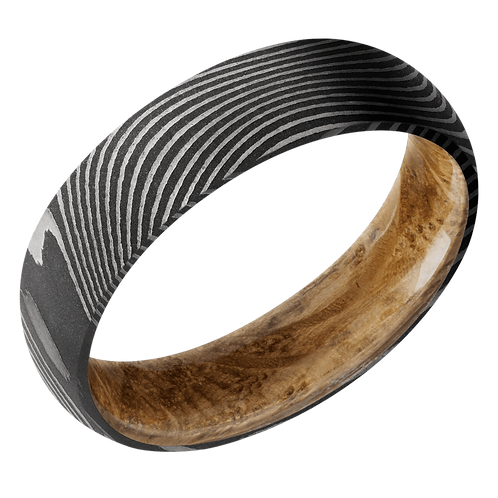 Men's wedding band in damascus steel with whiskey barrel wood sleeve inlay. Inside inlay of whiskey barrel wood. Damascus.