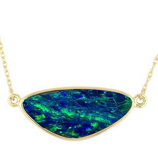14K Yellow Gold and Australian Opal Doublet Bezel Set Pendant Necklace