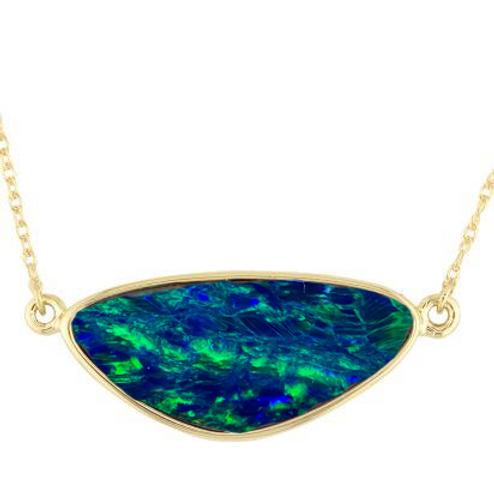 14K yellow gold pendant with Australian opal doublet. Bezel set opal pendant. Opal necklace. Australian opal doublet. Blue.