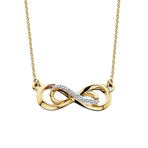 10k yellow gold and 05cttw diamond double infinity pendant 10k yellow gold diamond infinity pendant double infinity pendant gold infinity necklace infinity aloadofball Image collections