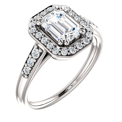 14K white gold diamond engagement ring with diamond accented shank and diamond halo. Emerald cut diamond engagement ring.