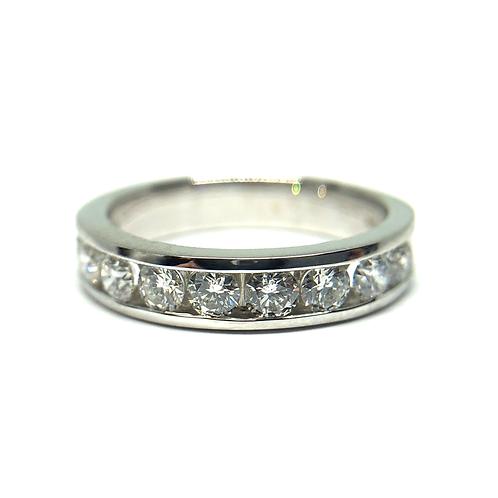 14K white gold channel set anniversary band. Channel set diamond wedding band. Channel band. White gold diamond ring. Diamond