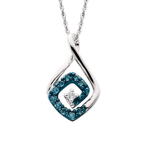10K white gold pendant with blue and white diamonds. Spiral design pendant. White diamond center. Blue diamond pendant. Blue