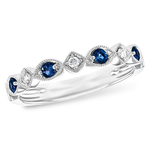14K white gold diamond and sapphire anniversary band. White gold stackable ring. Diamond and sapphire ring. Vintage band.