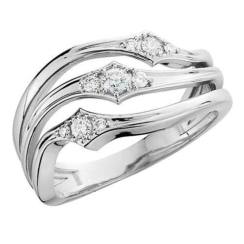 14K white gold three stone today tomorrow and always ring. 3-stone ring. Triple diamond ring. White gold diamond ring. Band.