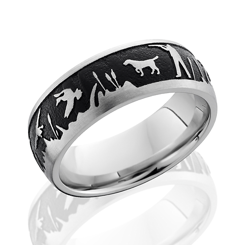Men's cobalt chrome wedding band with laser etched duck hunt scene and black antiquing. Hunting. Camo. Hunter. Mossy oak.