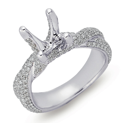 14K White Gold Twisted Engagement Ring With Thick Band And Micro Pave Diamonds Diamond