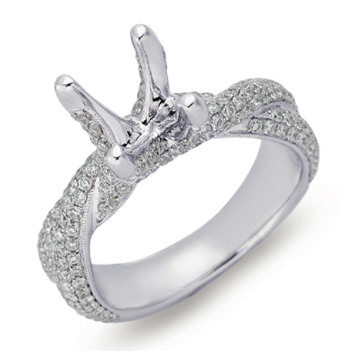 14K White gold twisted engagement ring with thick twisted band and micro pave diamonds. Diamond engagement ring. Pave diamond
