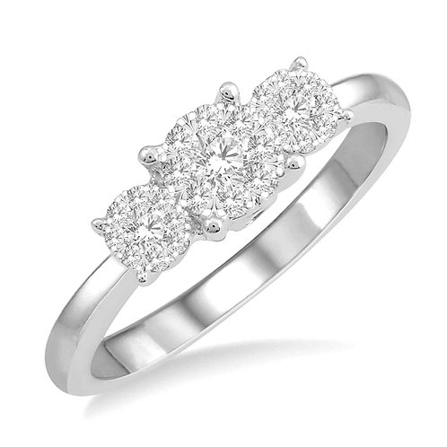 14K white gold diamond engagement or anniversary ring with three stones. Past present and future ring. 3-stone engagement.